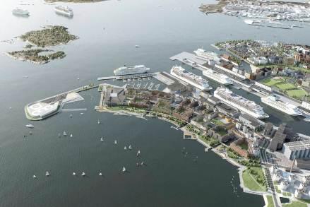 Tulevaisuuden Hernesaari kaakosta katsoen.Kuva suunnitelmasta: Kaupunkisuunnitteluvirasto