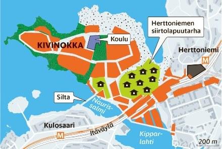 Kivinokan kartta vuonna 2035? Asuntojen rakentamista Kivinokkaan puoltaa ainakin kaksi merkittävää tekijää. Metro on ollut todella kallis investointi ja joukkoliikenteen kulkutapaosuutta tulee lisätä. Kuva HS / KSV:n suunnitelma