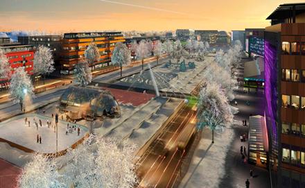 Näkemys entisestä moottoritiestä ja tulevaisuuden Mannerheiminbulevardista vuonna 2050. Moottoritie alkaa Hämeenlinnanväylällä joskus tulevaisuudessa kenties vasta Kehä I tasolla.Kuva KSV / 3dRender