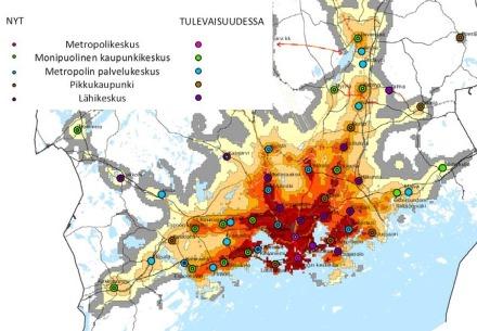 """Tätä karttaa voi pitää seudullisen ajattelun huoneentauluna. Kartassa kuvataan Helsingin seudun kuntien taajamien palvelutasoa ja kokoa yhtenäisillä """"metropoli-nimikkeillä"""". Esimerkiksi Keravalla sijaitsevaa Saviota kutsutaan nimikkeellä """"metropolin palvelukeskus"""". Lauttasaari on puolestaan """"pikkukaupunki"""". Kuva MASU 2050"""