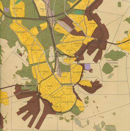 Vuoden 1960 yleiskaavassa Helsingin satama-alueet on merkitty ruskealla. Nyt huomattavan suuri osa näista alueista on muuttunut tai muuttumassa asuinalueiksi.