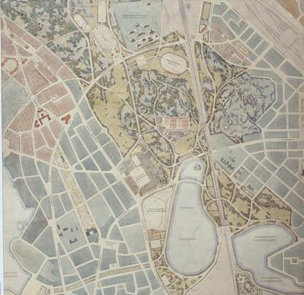 Arkkitehti Bertel Jungin ideoima Keskuspuisto täytti 100 vuotta 12.5.2014. Kaupunginvaltuusto hyväksyi kuvassa olevan puistosuunnitelman 12.5.1914.