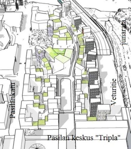 Keski-Pasilan korttelialueiden havainnekuvaa. Oikealla Veturitie ja rata. Edessä Pasilan keskus.