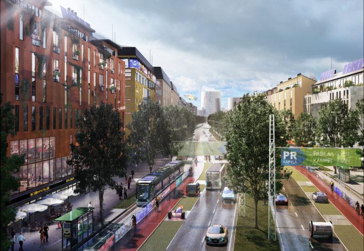 Yleiskaavan luonnoksen suuri oivallus ovat kaupunkibulevardit, joiden varsille tulisi jopa yli 80 000 uutta asukasta. Havainnekuva tulevaisuuden Tuusulanväylästä.