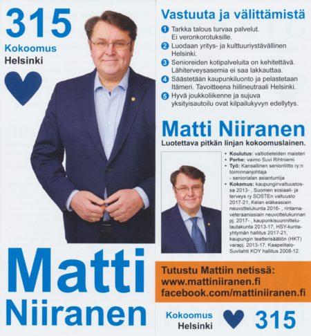 Matti Niirasen viisi vaalitavoitetta